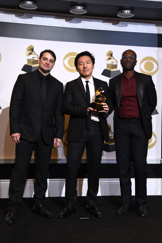 LOS ANGELES, CALIFORNIA - FEBRUARY 10: (L-R) Jason Cole, Hiro Murai and Ibra Ake, winners of Best Music Video for 'This Is America,' pose in the press room during the 61st Annual GRAMMY Awards at Staples Center on February 10, 2019 in Los Angeles, California. (Photo by Amanda Edwards/Getty Images)
