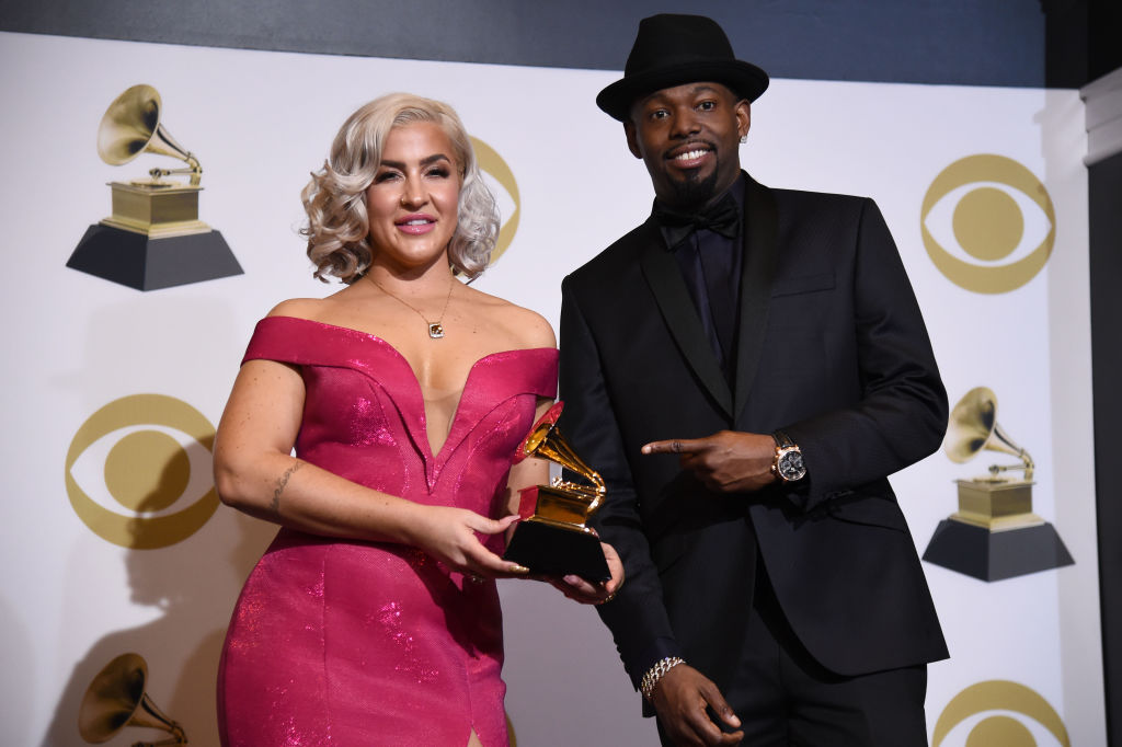 LOS ANGELES, CALIFORNIA - FEBRUARY 10: Joelle James (L) and Larrance Dopson pose with award for Best R&B Song in the press room during the 61st Annual GRAMMY Awards at Staples Center on February 10, 2019 in Los Angeles, California. (Photo by Amanda Edwards/Getty Images)