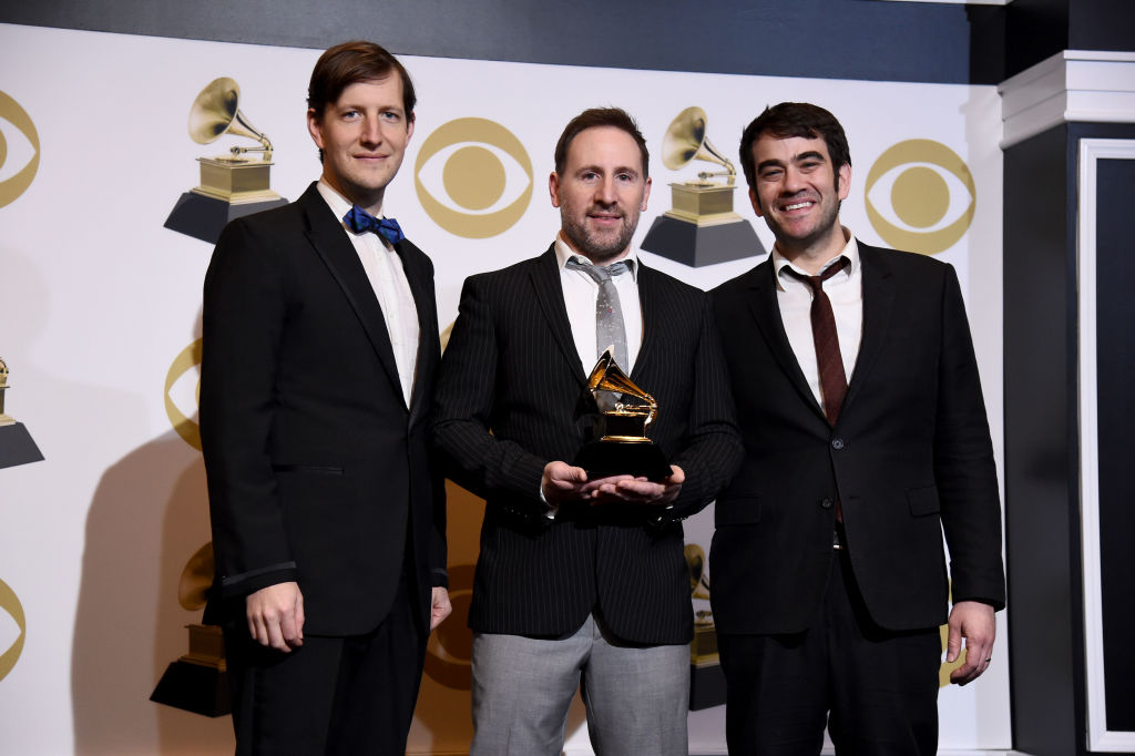 "LOS ANGELES, CALIFORNIA - FEBRUARY 10: Members of the Punch Brothers, winner of Best Folk Album for ""All Ashore"", pose in the press room during the 61st Annual GRAMMY Awards at Staples Center on February 10, 2019 in Los Angeles, California. (Photo by Amanda Edwards/Getty Images)"