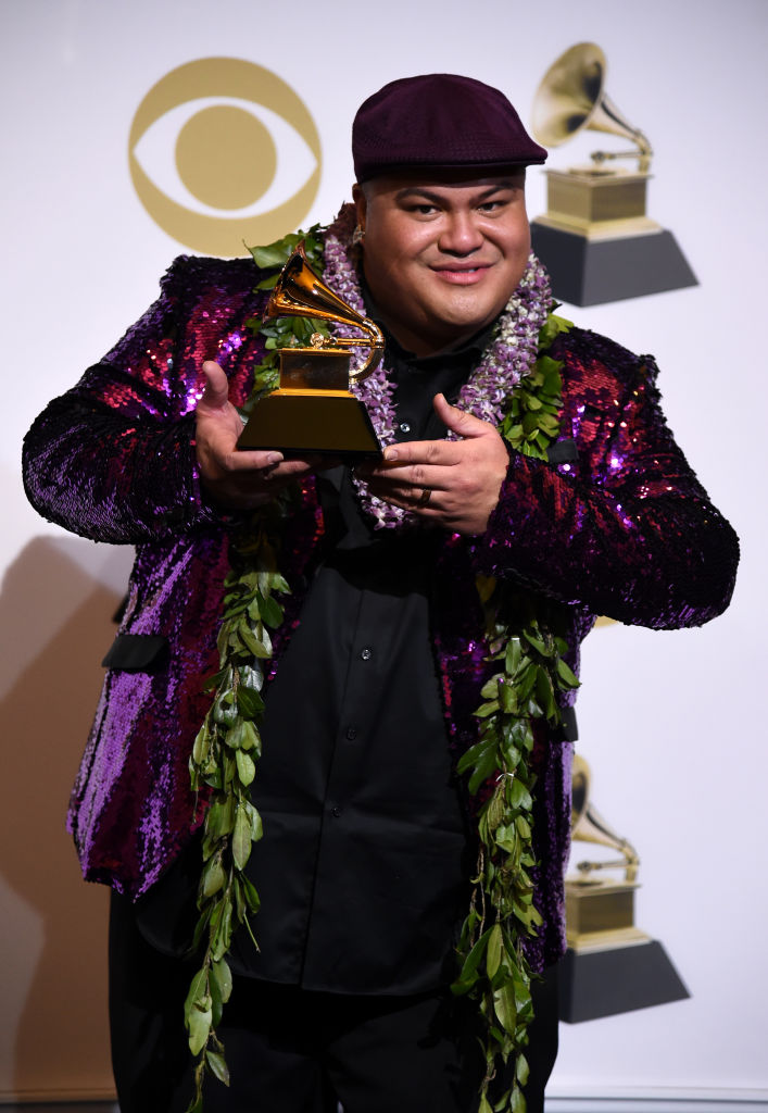 LOS ANGELES, CALIFORNIA - FEBRUARY 10: Kalani Pe'a, winner of Best Regional Roots Music Album for 'No 'Ane'i,' poses in the press room during the 61st Annual GRAMMY Awards at Staples Center on February 10, 2019 in Los Angeles, California. (Photo by Amanda Edwards/Getty Images)