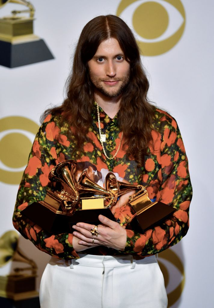 "Sweedish composer Ludwig Goransson poses with the award for Record Of The Year ""This Is America"" (by Childish Gambino), for Song of the Year (This is America) and Best Score Soundtrack (Black Panther) in the press room during the 61st Annual Grammy Awards on February 10, 2019, in Los Angeles. (Photo by FREDERIC J. BROWN / AFP)        (Photo credit should read FREDERIC J. BROWN/AFP/Getty Images)"