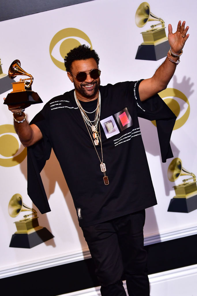 Shaggy poses with his Grammy for Best Reggae Album in the press room during the 61st Annual Grammy Awards on February 10, 2019, in Los Angeles. (Photo by Frederic J. BROWN / AFP)        (Photo credit should read FREDERIC J. BROWN/AFP/Getty Images)