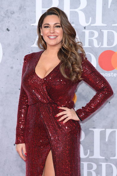 Kelly Brook on the red carpet of The BRIT Awards 2019 held at The O2 Arena on February 20, 2019 in London. (Photo by: WireImage)