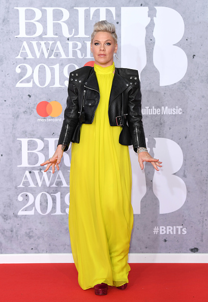 Pink on the red carpet of The BRIT Awards 2019 held at The O2 Arena on February 20, 2019 in London. (Photo by: WireImage)