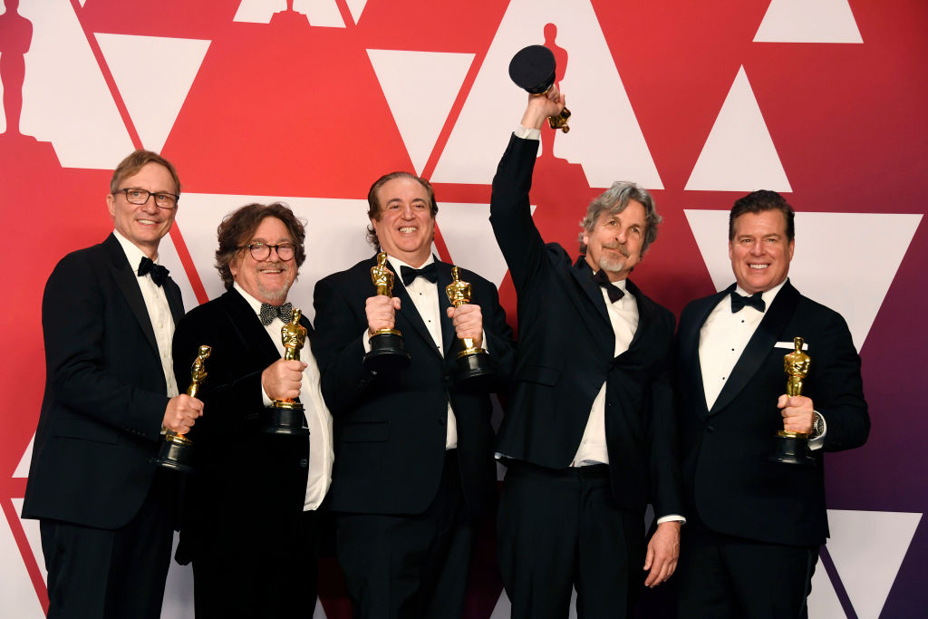 "HOLLYWOOD, CALIFORNIA - FEBRUARY 24: (L-R) Jim Burke, Charles B. Wessler, Nick Vallelonga, Peter Farrelly, and Brian Currie, winners of Best Picture for ""Green Book,"" pose in the press room during the 91st Annual Academy Awards at Hollywood and Highland on February 24, 2019 in Hollywood, California. (Photo by Frazer Harrison/Getty Images)"