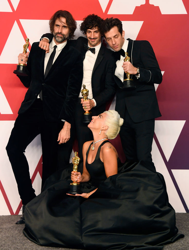 "HOLLYWOOD, CALIFORNIA - FEBRUARY 24: (L-R) Andrew Wyatt, Anthony Rossomando, Mark Ronson, and Lady Gaga, winners of Best Original Song for ""Shallow"" from ""A Star is Born,"" pose in the press room during the 91st Annual Academy Awards at Hollywood and Highland on February 24, 2019 in Hollywood, California. (Photo by Frazer Harrison/Getty Images)"