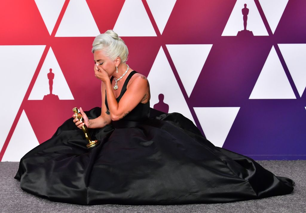 "TOPSHOT - Best Original Song winner for ""Shallow"" from ""A Star is Born"" Lady Gaga poses in the press room with the Oscar during the 91st Annual Academy Awards at the Dolby Theater in Hollywood, California on February 24, 2019. (Photo by FREDERIC J. BROWN / AFP)        (Photo credit should read FREDERIC J. BROWN/AFP/Getty Images)"