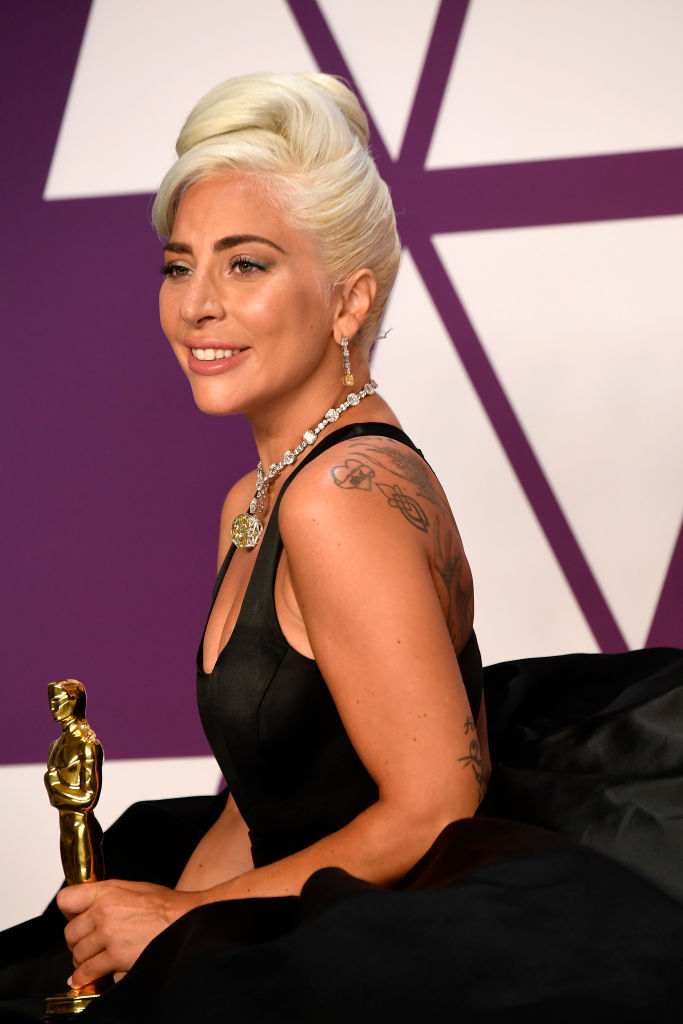 "HOLLYWOOD, CALIFORNIA - FEBRUARY 24: Lady Gaga, winner of Best Original Song for ""Shallow"" from ""A Star is Born,"" poses in the press room during the 91st Annual Academy Awards at Hollywood and Highland on February 24, 2019 in Hollywood, California. (Photo by Frazer Harrison/Getty Images)"