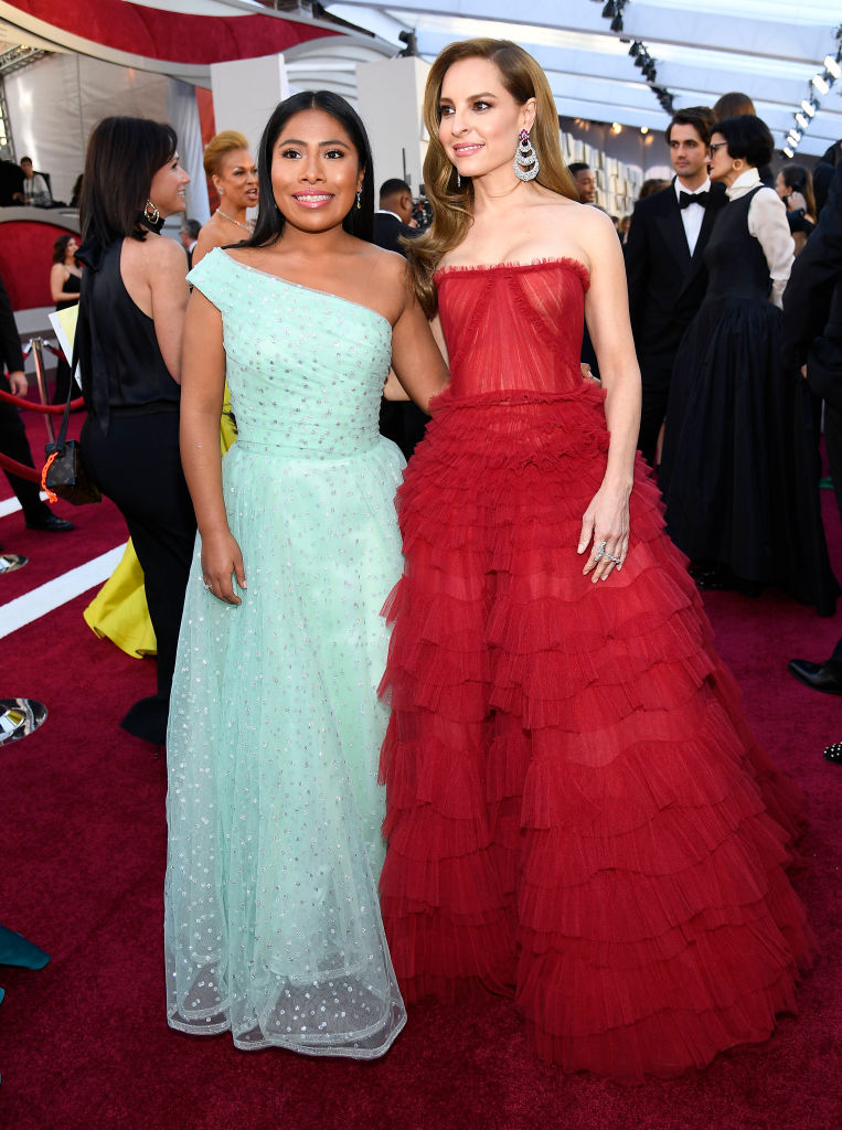 (L-R) Yalitza Aparicio and Marina de Tavira attend the 91st Annual Academy Awards on February 24, 2019 in Hollywood, California. (Photo by Kevork Djansezian/Getty Images)