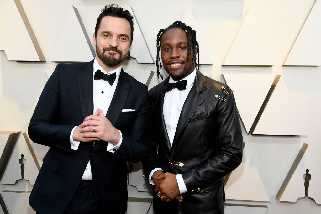 (L-R) Jake Johnson and Shameik Moore attend the 91st Annual Academy Awards on February 24, 2019 in Hollywood, California. (Photo by Kevork Djansezian/Getty Images)