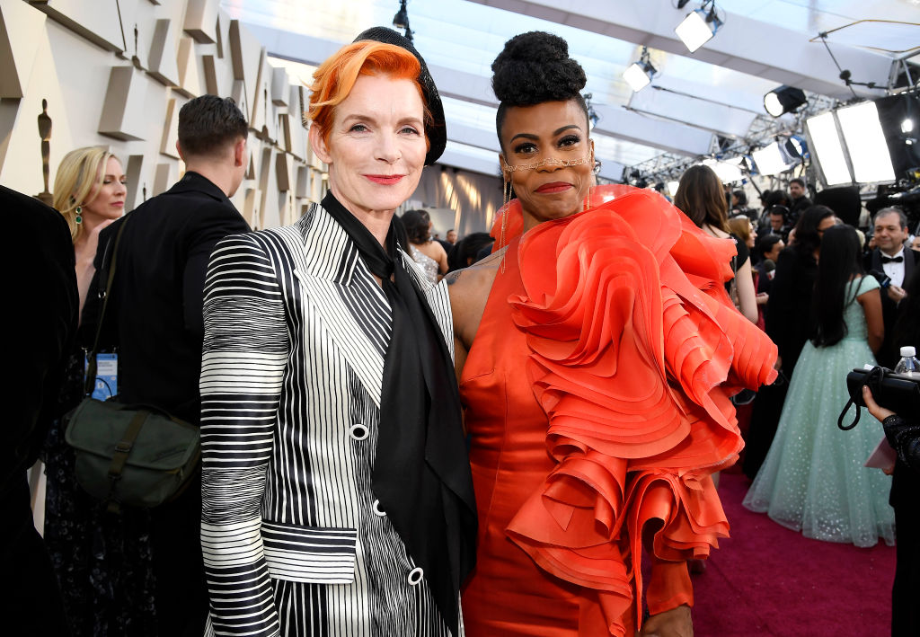 (L-R) Costume designer Sandy Powell and production designer Hannah Beachler attend the 91st Annual Academy Awards on February 24, 2019 in Hollywood, California. (Photo by Kevork Djansezian/Getty Images)