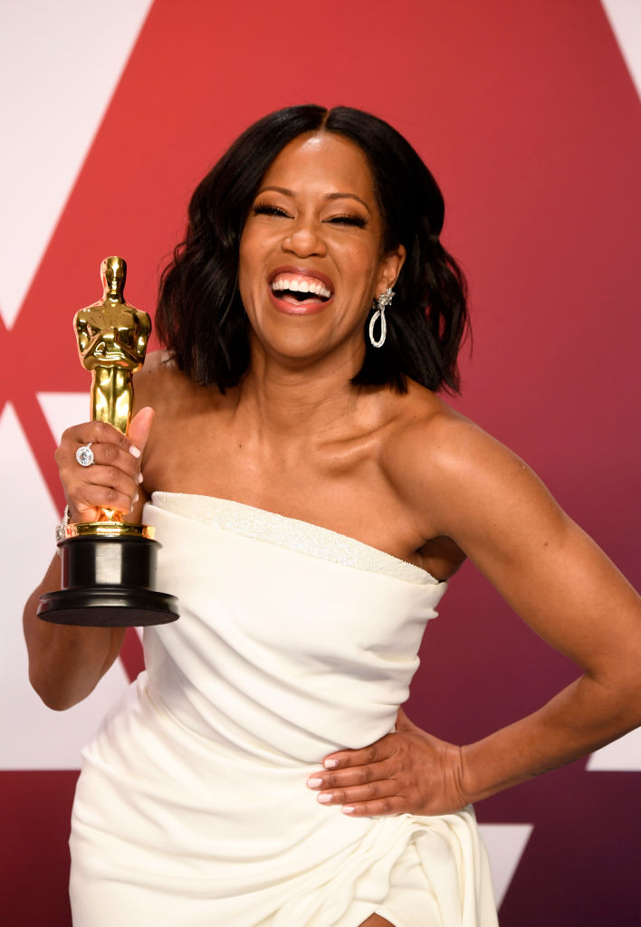 HOLLYWOOD, CALIFORNIA - FEBRUARY 24: Regina King with the award for an actress in a supporting role for 'If Beale Street Could Talk'  in the press room during at Hollywood and Highland on February 24, 2019 in Hollywood, California. (Photo by Frazer Harrison/Getty Images)