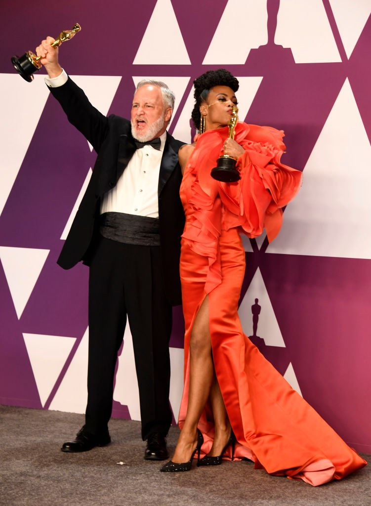 "HOLLYWOOD, CALIFORNIA - FEBRUARY 24: (L-R) jay Hart and Hannah Beachler, winners of Best Production Design for ""Black Panther,"" pose in the press room during the 91st Annual Academy Awards at Hollywood and Highland on February 24, 2019 in Hollywood, California. (Photo by Frazer Harrison/Getty Images)"