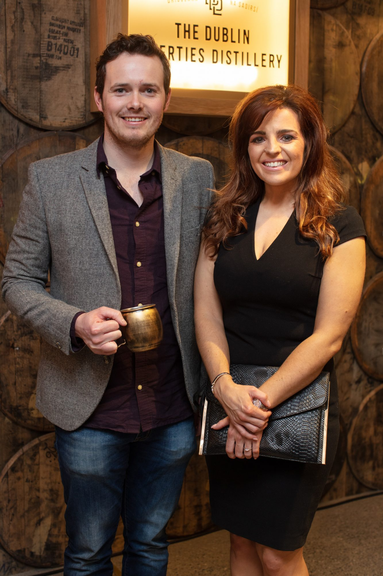 Enda Fitzpatrick & Kelly Forsyth pictured at the preview of The Dublin Liberties Distillery, the much anticipated new craft distillery in the heart of the Liberties. Photo: Anthony Woods.