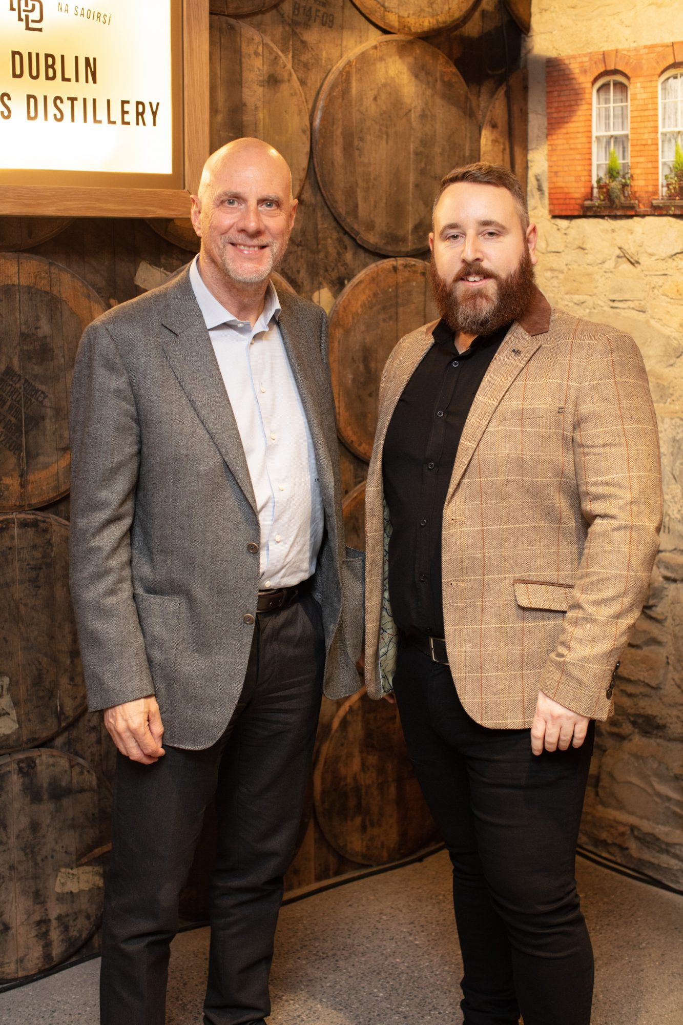 Enzo Visone & Kris Dickenson pictured at the preview of The Dublin Liberties Distillery, the much anticipated new craft distillery in the heart of the Liberties. Photo: Anthony Woods.