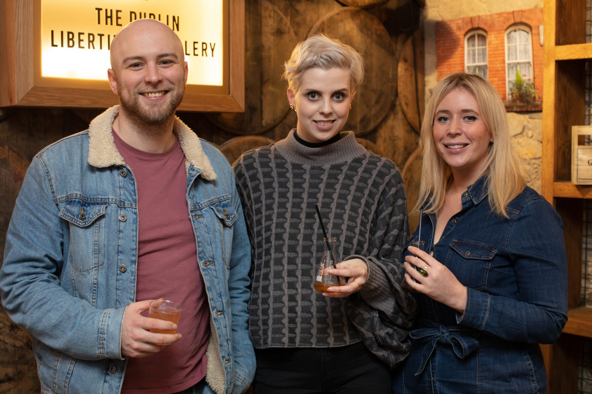 Eoin O'Neill, Celina Murphy & Dee Laffan pictured at the preview of The Dublin Liberties Distillery, the much anticipated new craft distillery in the heart of the Liberties. Photo: Anthony Woods.
