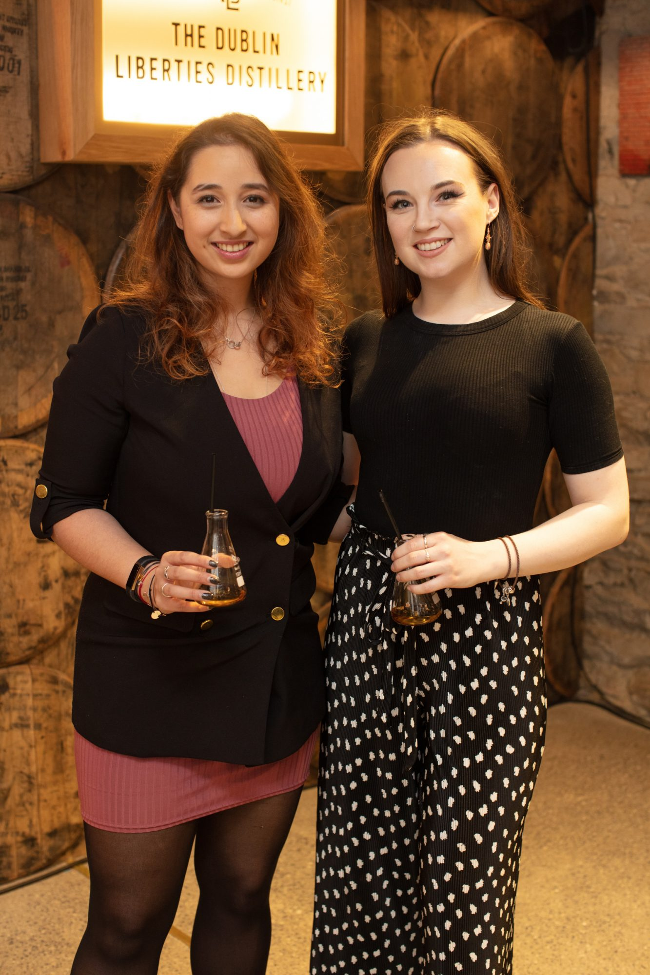 Nirina Plunkett & Hannah Moyne pictured at the preview of The Dublin Liberties Distillery, the much anticipated new craft distillery in the heart of the Liberties. Photo: Anthony Woods.