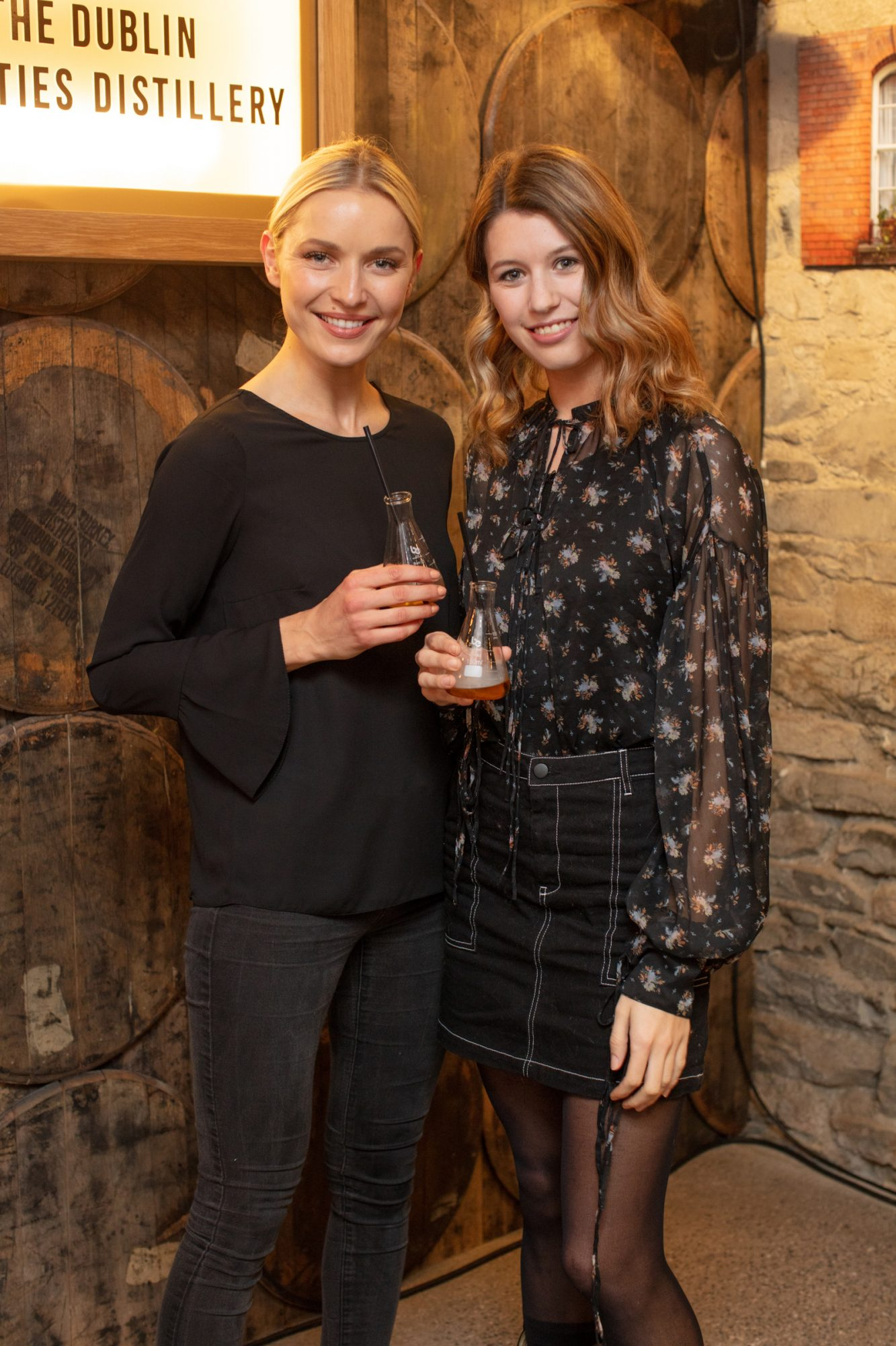 Teodora Sutra & Joanne Northey pictured at the preview of The Dublin Liberties Distillery, the much anticipated new craft distillery in the heart of the Liberties. Photo: Anthony Woods.