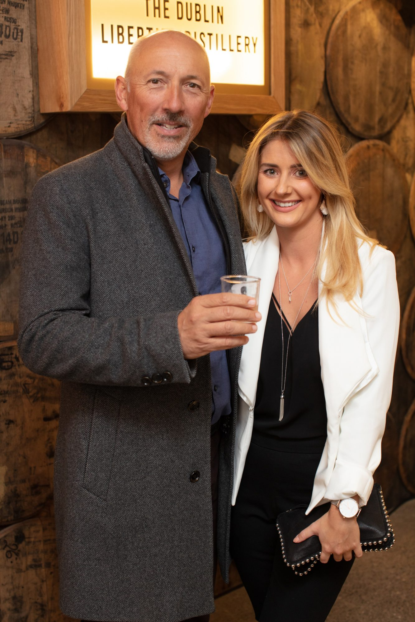 Warren Scott & Lauren Edge pictured at the preview of The Dublin Liberties Distillery, the much anticipated new craft distillery in the heart of the Liberties. Photo: Anthony Woods.