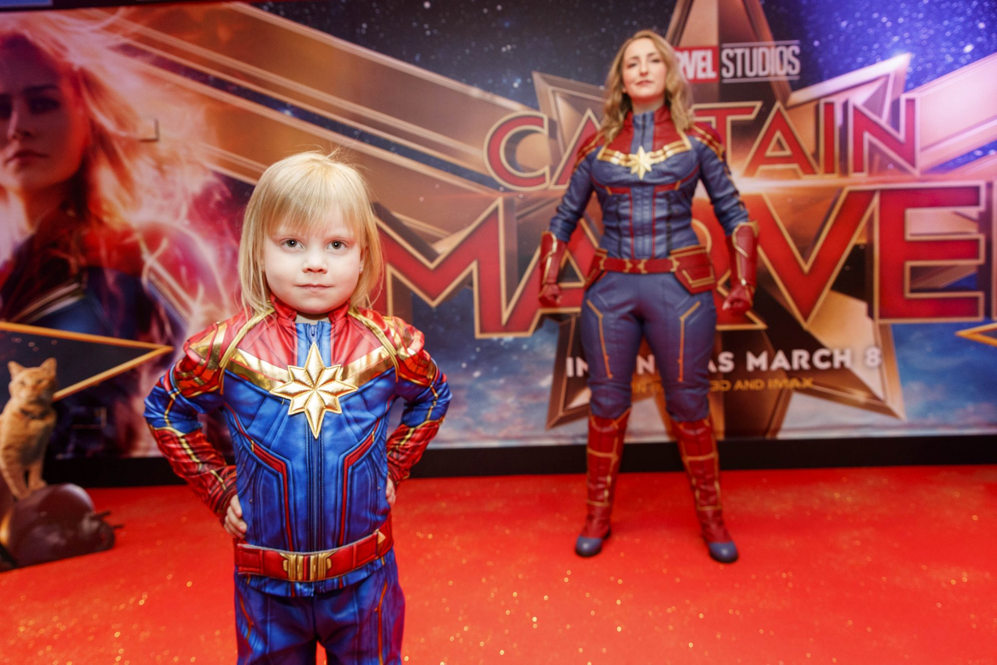 Lana O'Brien (4) and Lauren Murphy pictured at a special preview screening of CAPTAIN MARVEL in Cineworld Dublin. Picture by: Andres Poveda