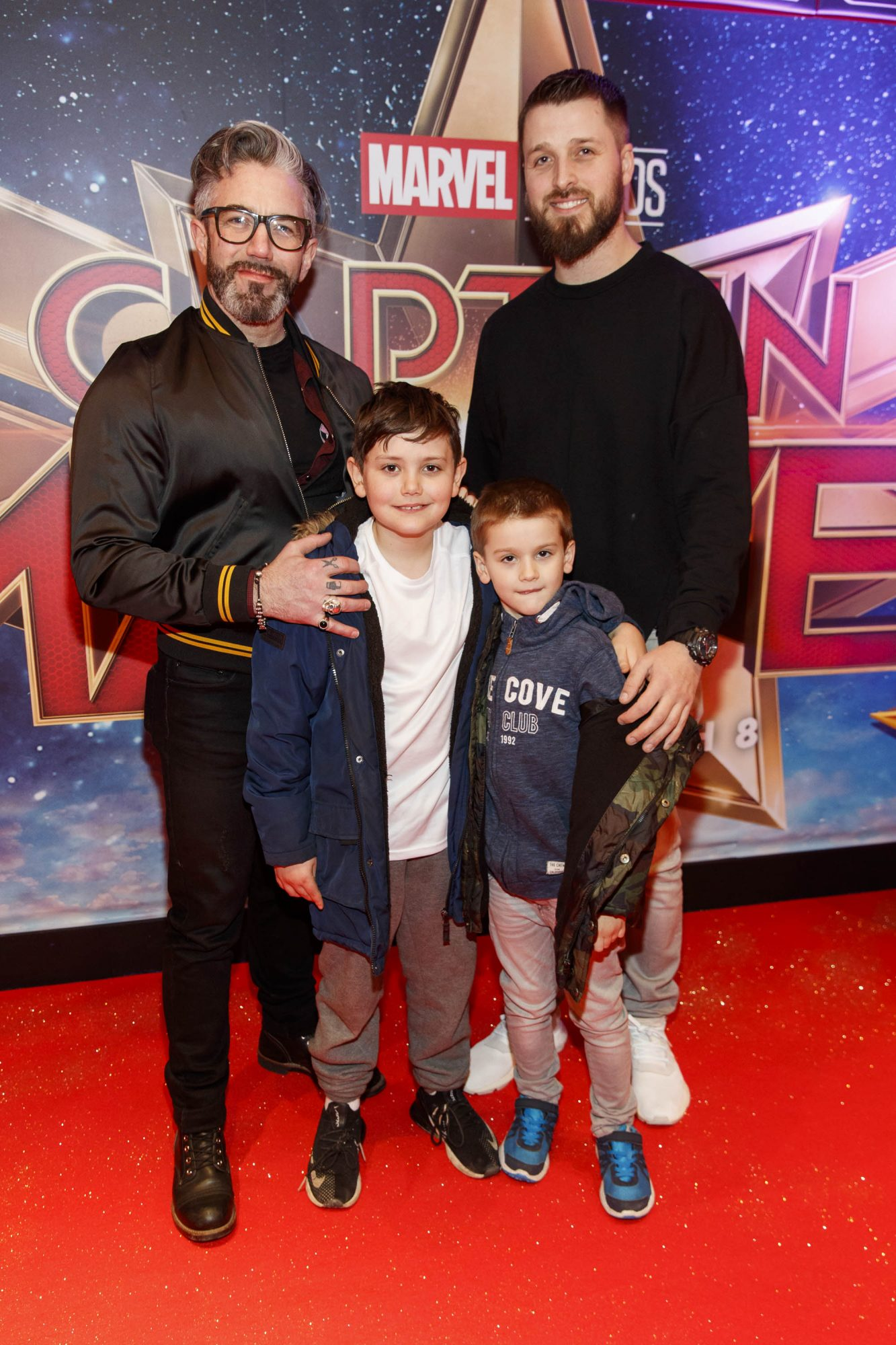 Mark O'Keefe with son Ely (9) and Kevin and Calum Cronin (7) pictured at a special preview screening of CAPTAIN MARVEL in Cineworld Dublin. Picture by: Andres Poveda