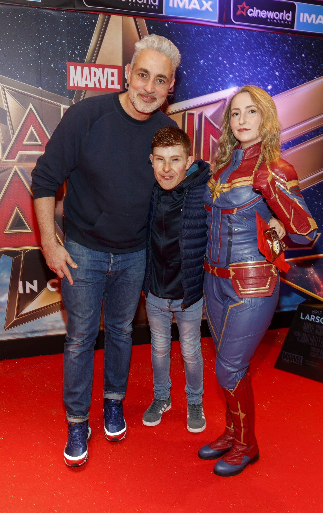 Baz Ashmawy, Conor Walsh and Lauren Murphy pictured at a special preview screening of CAPTAIN MARVEL in Cineworld Dublin. Picture by: Andres Poveda