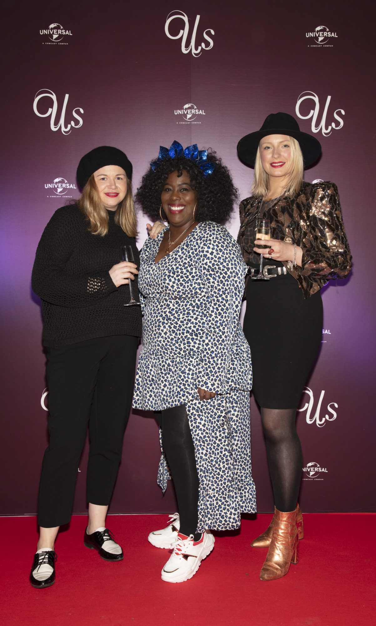Taine King, Nadine Reid & Margaret O'Connor pictured at an exclusive first look of Jordan Peele's Us at The Stella Theatre, Ranelagh. Photo: Anthony Woods.