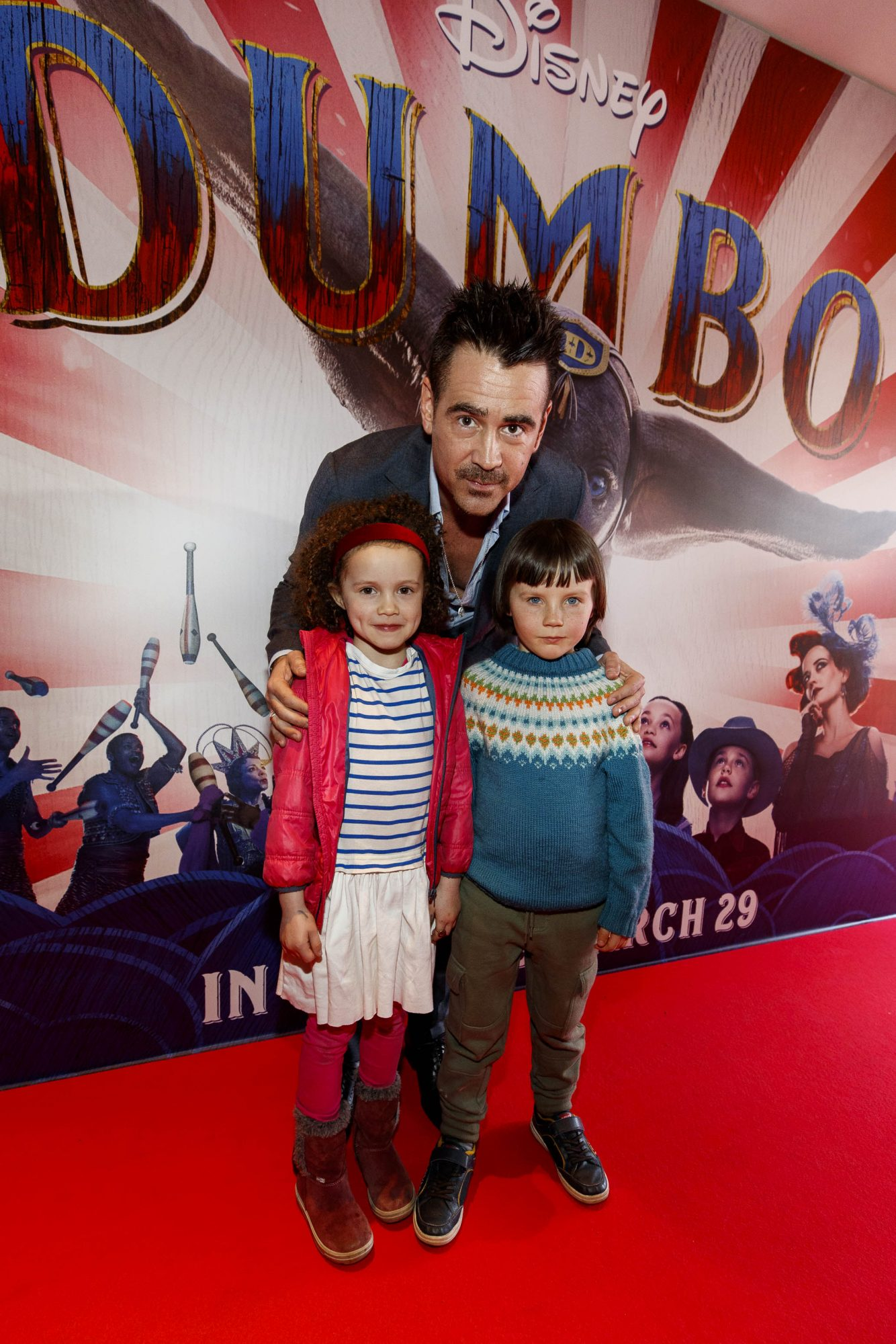 24/03/2019 Colin Farrell pictured on the red carpet at the Irish Premiere screening of Disney's DUMBO in the Light House Cinema Dublin with Lolla and Dannon Kelleher. Picture: Andres Poveda