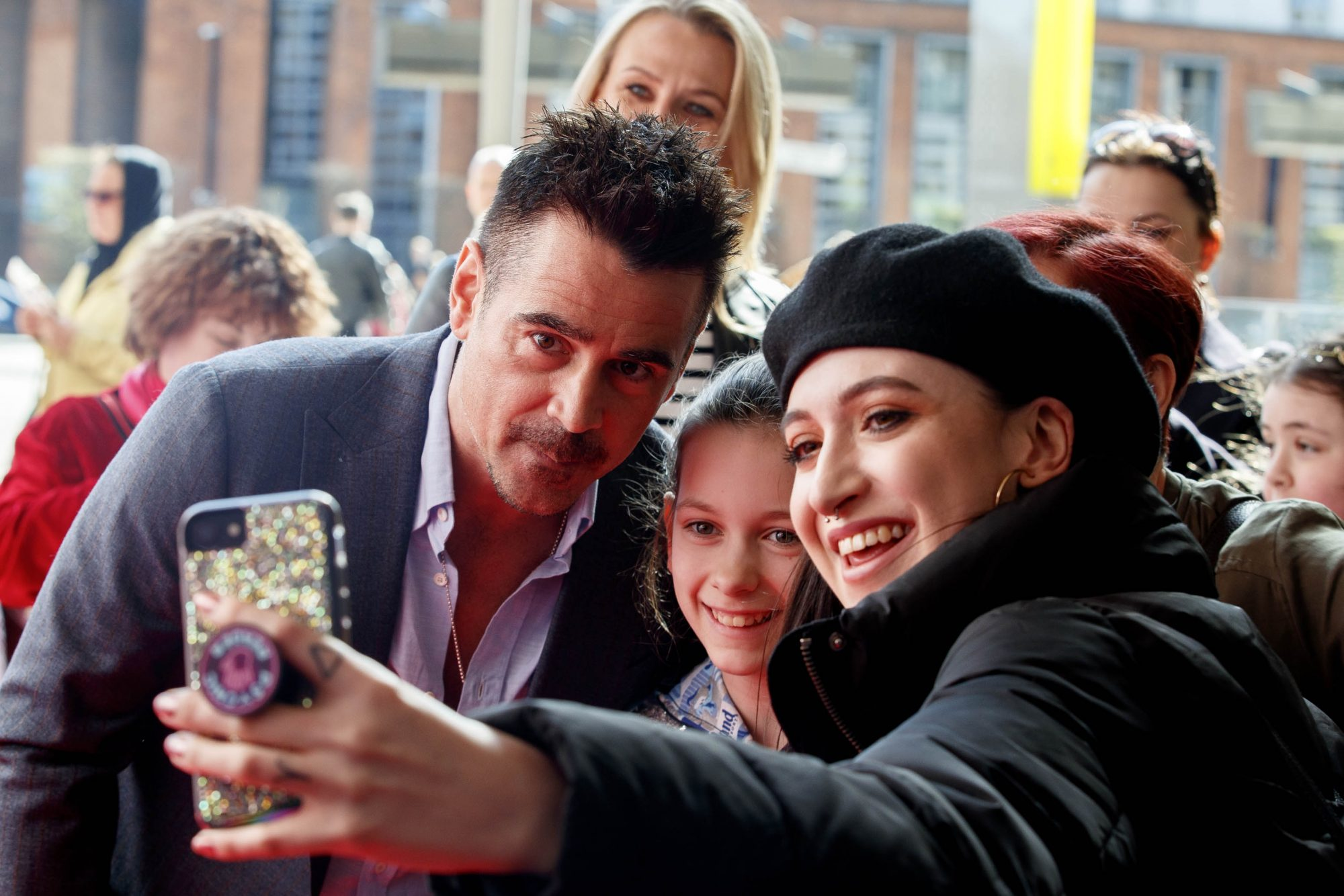 24/03/2019 Colin Farrell pictured on the red carpet at the Irish Premiere screening of Disney's DUMBO in the Light House Cinema Dublin with Ciara and Leanne Woodfull. Picture: Andres Poveda