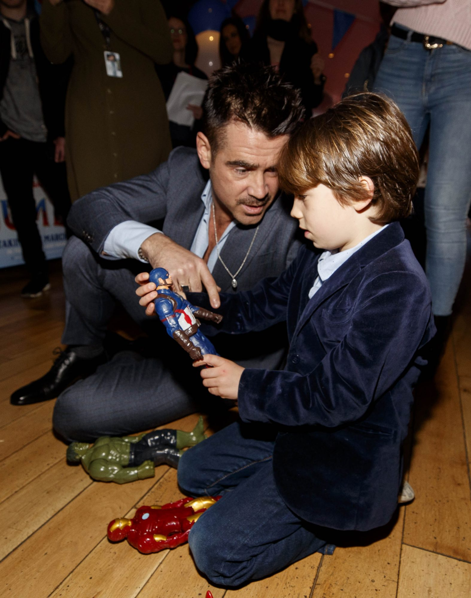 24/03/2019 Colin Farrell takes a few minutes to play Casper Quick (6) at the Irish Premiere screening of Disney's DUMBO in the Light House Cinema Dublin. Picture: Andres Poveda