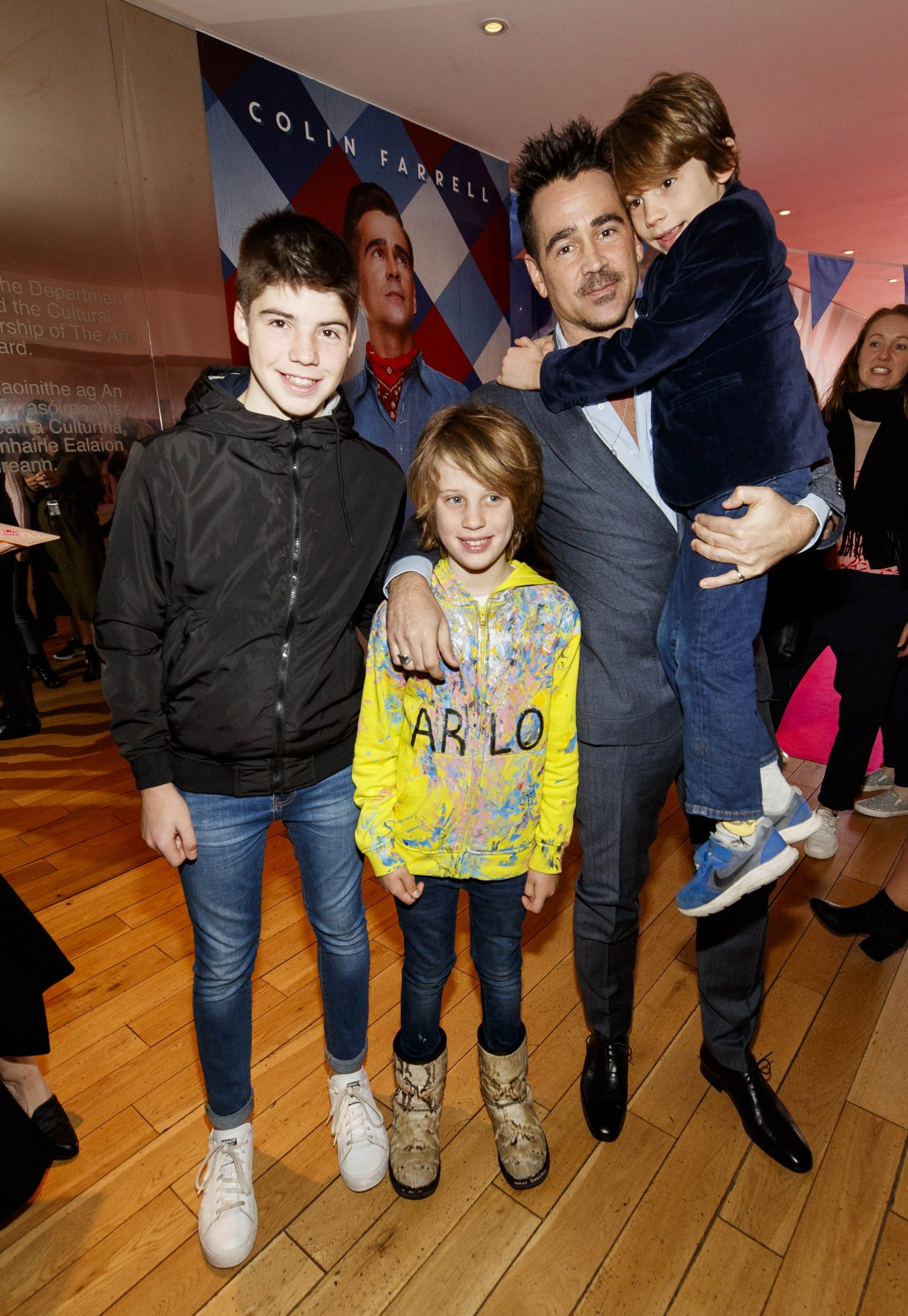 24/03/2019 Colin Farrell pictured with Alex (13), Arlo (9) and Casper Quick (6) on the red carpet at the Irish Premiere screening of Disney's DUMBO in the Light House Cinema Dublin. Picture: Andres Poveda