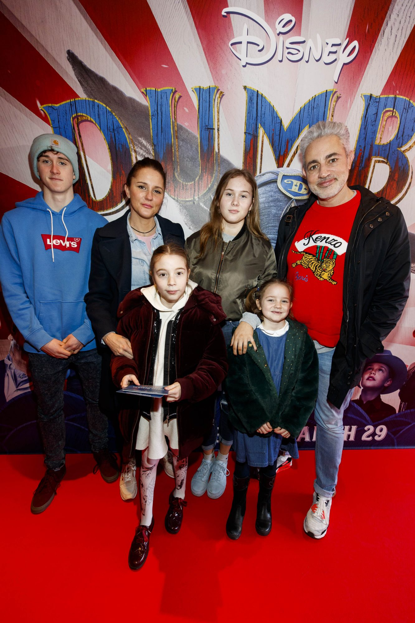 24/03/2019 Baz Ashmawy and partner Tanya Evans and their family pictured at the Irish Premiere of Disney's DUMBO in the Light House Cinema Dublin. Picture Andres Poveda
