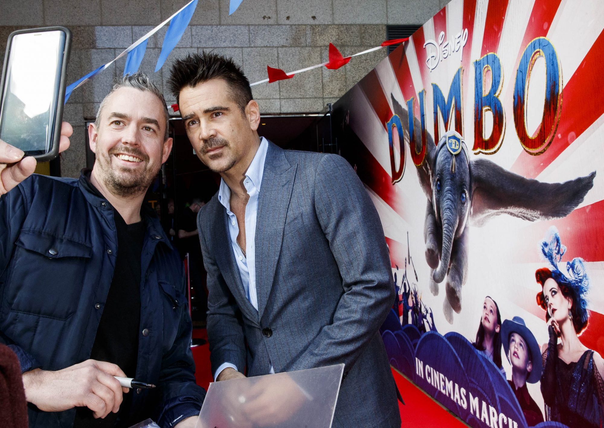 24/03/2019 Colin Farrell poses for pics with fans on the red carpet at the Irish Premiere screening of Disney's DUMBO in the Light House Cinema Dublin. Picture: Andres Poveda