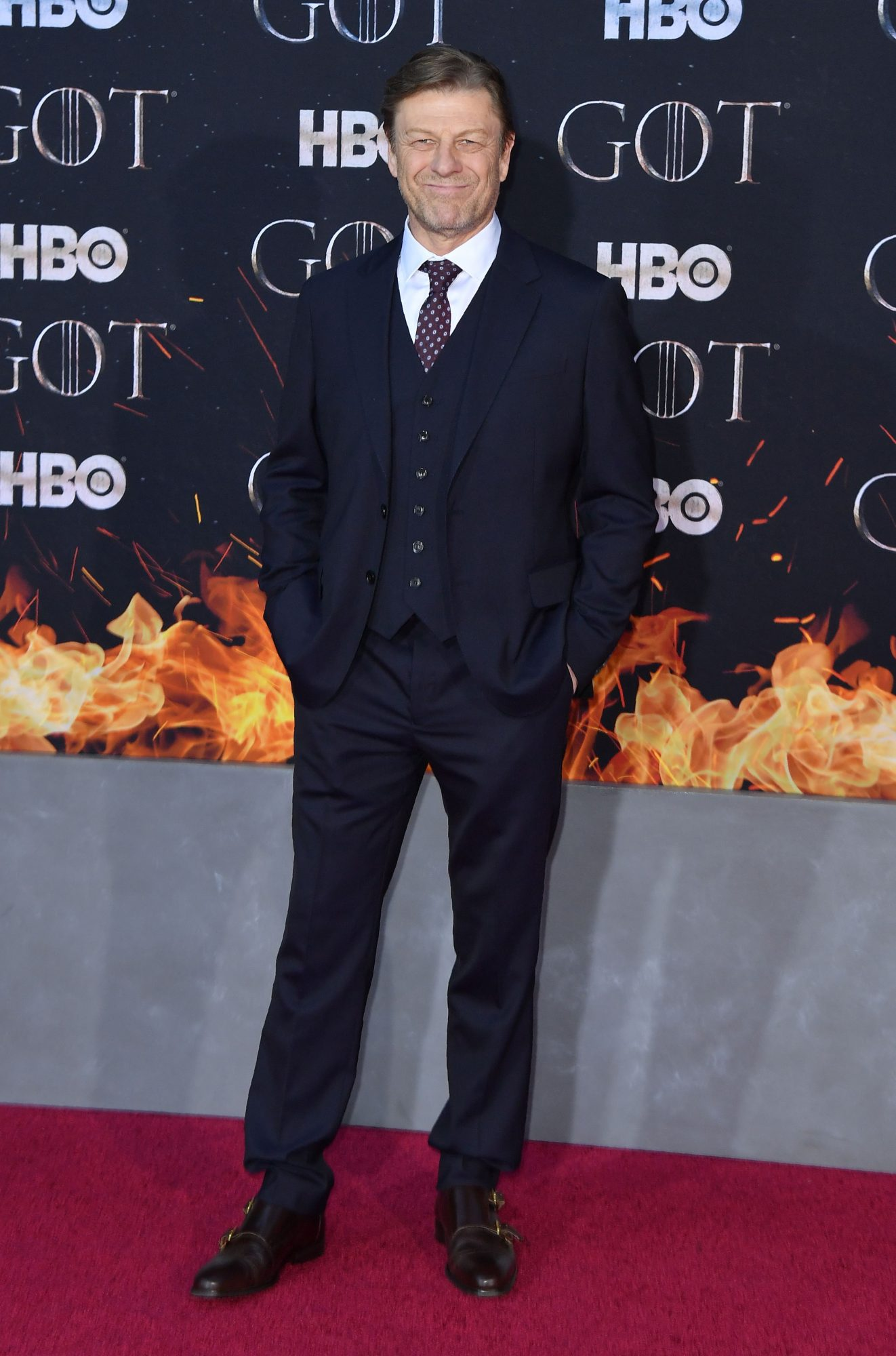 """British actor Sean Bean arrives for the """"Game of Thrones"""" eighth and final season premiere at Radio City Music Hall on April 3, 2019 in New York city. (Photo by Angela Weiss / AFP)        (Photo credit should read ANGELA WEISS/AFP/Getty Images)"""