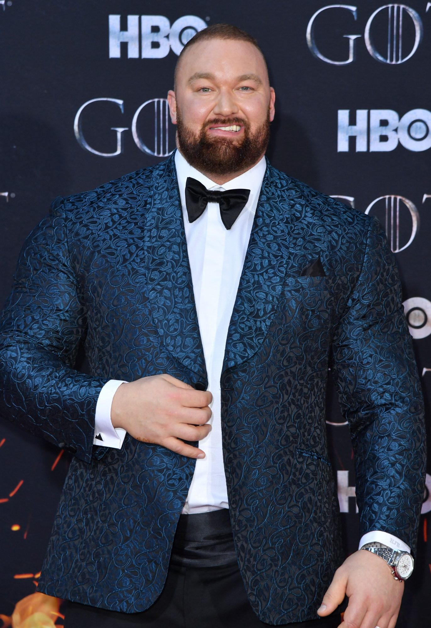 "Icelandic actor Hafthor Bjornsson arrives for the ""Game of Thrones"" eighth and final season premiere at Radio City Music Hall on April 3, 2019 in New York city. (Photo by Angela Weiss / AFP)        (Photo credit should read ANGELA WEISS/AFP/Getty Images)"
