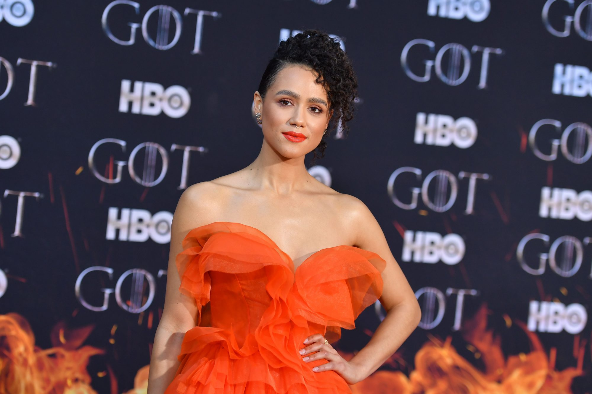 "British actress Nathalie Emmanuel arrives for the ""Game of Thrones"" eighth and final season premiere at Radio City Music Hall on April 3, 2019 in New York city. (Photo by Angela Weiss / AFP)        (Photo credit should read ANGELA WEISS/AFP/Getty Images)"