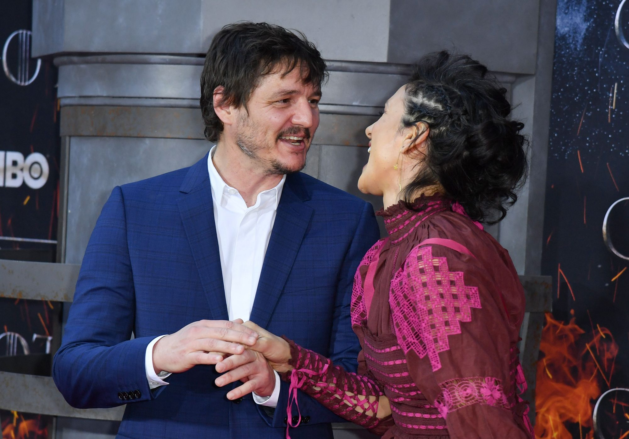 "Chilean actor Pedro Pascal and British actress Indira Varma arrive for the ""Game of Thrones"" eighth and final season premiere at Radio City Music Hall on April 3, 2019 in New York city. (Photo by Angela Weiss / AFP)        (Photo credit should read ANGELA WEISS/AFP/Getty Images)"