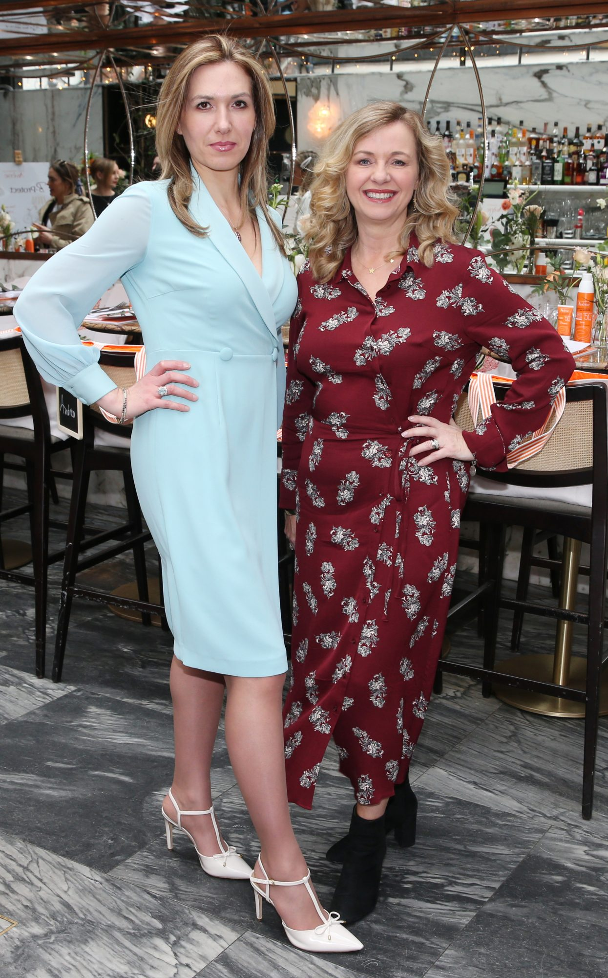 Pictured is Laura Dowling and Denise Cantwell at the launch of the new Avène Expert Suncare Range in The Grayson Dublin. The new range of suncare from the French brand is suitable for all skin types and includes a Sports Sun Cream, a City Shield BB Style High Protection Face Cream, two new SPF Body Sprays and a new Very High Protection Children's SPF. For more information visit www.avene.ie. Photo: Leon Farrell/Photocall Ireland.