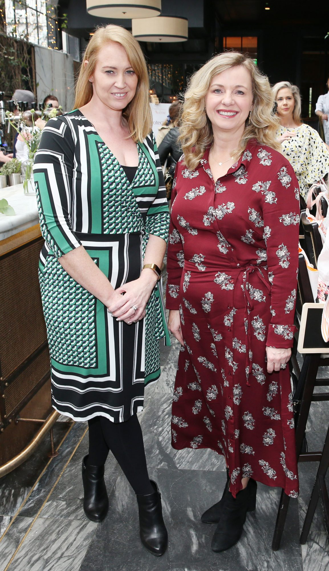 Pictured is Melaine Black and Denise Cantwell at the launch of the new Avène Expert Suncare Range in The Grayson Dublin. The new range of suncare from the French brand is suitable for all skin types and includes a Sports Sun Cream, a City Shield BB Style High Protection Face Cream, two new SPF Body Sprays and a new Very High Protection Children's SPF. For more information visit www.avene.ie. Photo: Leon Farrell/Photocall Ireland.