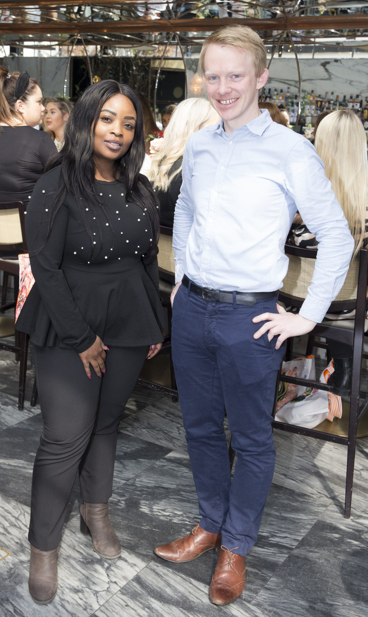 Pictured is Sai Oladeji and Patrick Welch at the launch of the new Avène Expert Suncare Range in The Grayson Dublin. The new range of suncare from the French brand is suitable for all skin types and includes a Sports Sun Cream, a City Shield BB Style High Protection Face Cream, two new SPF Body Sprays and a new Very High Protection Children's SPF. For more information visit www.avene.ie. Photo: Leon Farrell/Photocall Ireland.