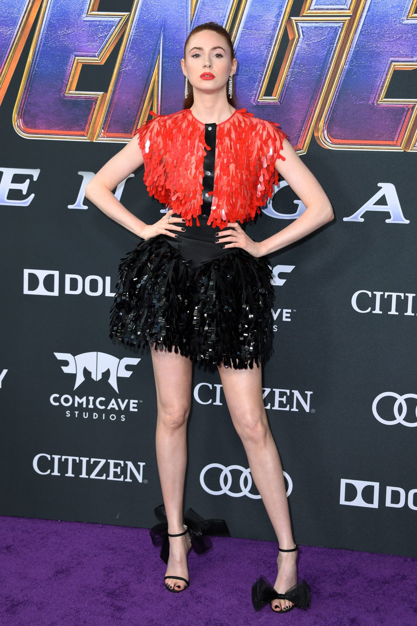 """Scottish actress Karen Gillan arrives for the World premiere of Marvel Studios' """"Avengers: Endgame"""" at the Los Angeles Convention Center on April 22, 2019 in Los Angeles. (Photo by VALERIE MACON/ AFP/ Getty Images)"""