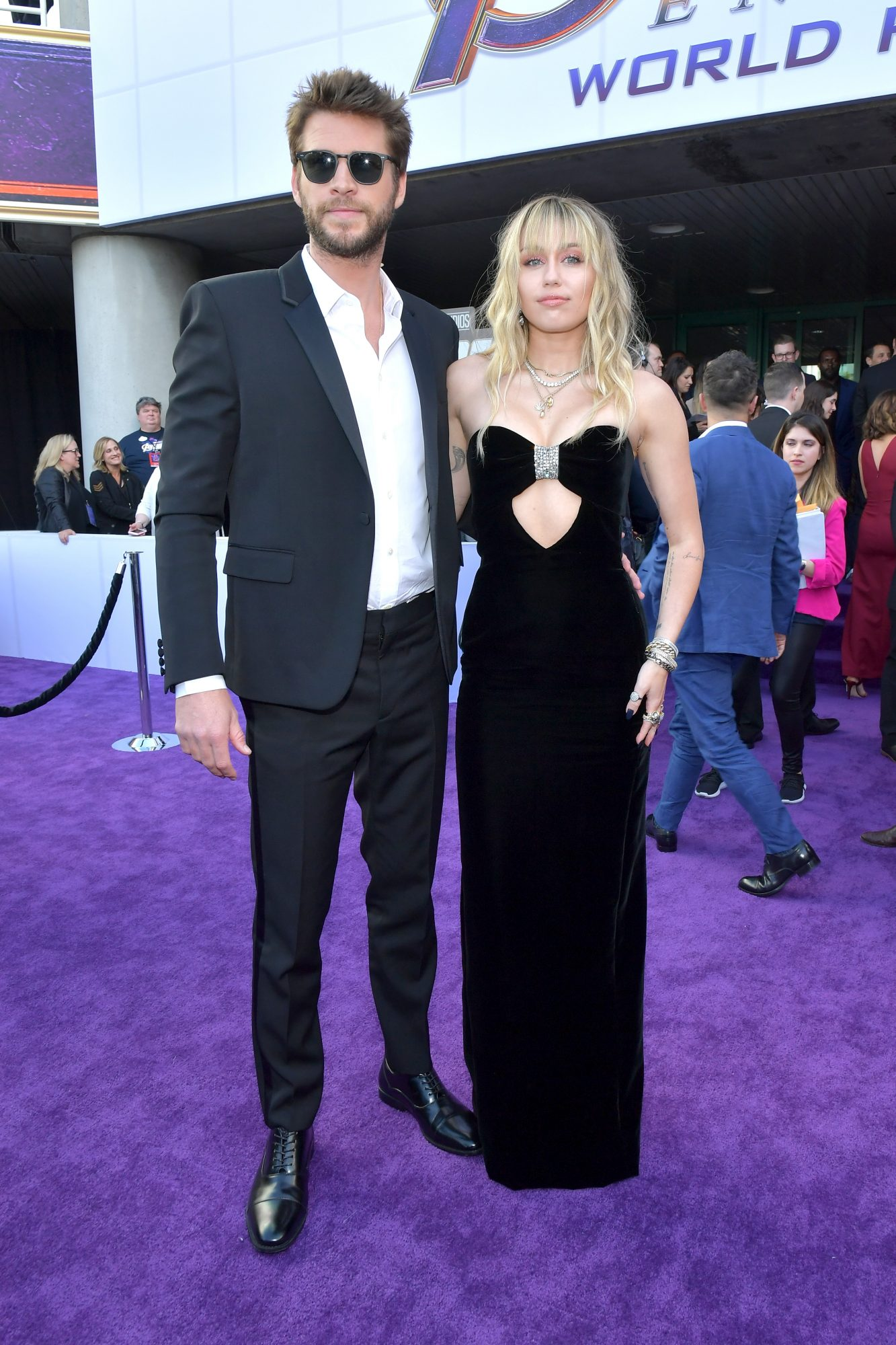 """Liam Hemsworth and Miley Cyrus attend the world premiere of Walt Disney Studios Motion Pictures """"Avengers: Endgame"""" at the Los Angeles Convention Center on April 22, 2019 in Los Angeles, California. (Photo by Amy Sussman/Getty Images)"""