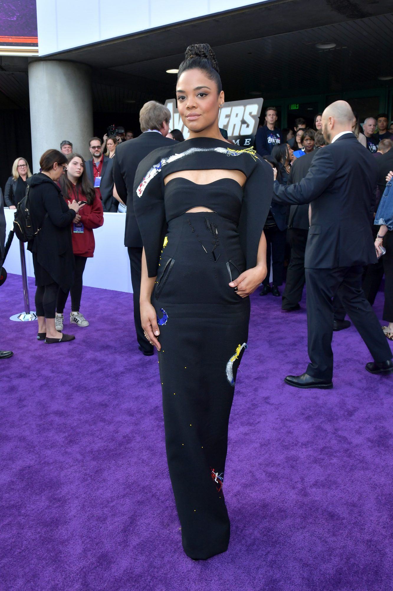 """Tessa Thompson attends the world premiere of Walt Disney Studios Motion Pictures """"Avengers: Endgame"""" at the Los Angeles Convention Center on April 22, 2019 in Los Angeles, California.  (Photo by Amy Sussman/Getty Images)"""