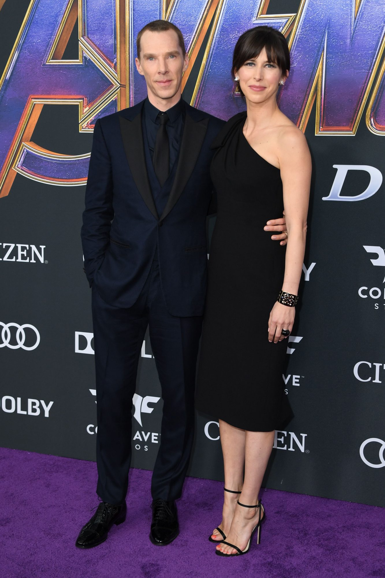 """English actor Benedict Cumberbatch and English theatre director Sophie Hunter arrive for the World premiere of Marvel Studios' """"Avengers: Endgame"""" at the Los Angeles Convention Center on April 22, 2019 in Los Angeles. (Photo by VALERIE MACON/AFP/Getty Images)"""