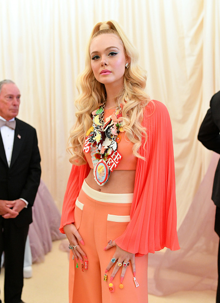 Elle Fanning attends The 2019 Met Gala Celebrating Camp: Notes on Fashion at Metropolitan Museum of Art on May 06, 2019 in New York City. (Photo by Mike Coppola/MG19/Getty Images for The Met Museum/Vogue )