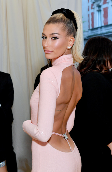 Hailey Bieber attends The 2019 Met Gala Celebrating Camp: Notes on Fashion at Metropolitan Museum of Art on May 06, 2019 in New York City. (Photo by Mike Coppola/MG19/Getty Images for The Met Museum/Vogue )
