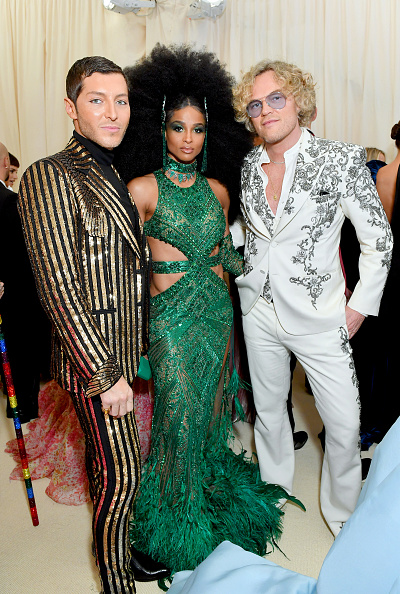 Evangelo Bousis, Ciara, and Peter Dundas attend The 2019 Met Gala Celebrating Camp: Notes on Fashion at Metropolitan Museum of Art on May 06, 2019 in New York City. (Photo by Mike Coppola/MG19/Getty Images for The Met Museum/Vogue )