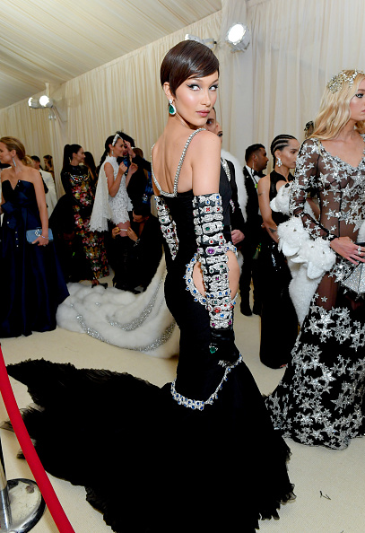 Bella Hadid attends The 2019 Met Gala Celebrating Camp: Notes on Fashion at Metropolitan Museum of Art on May 06, 2019 in New York City. (Photo by Mike Coppola/MG19/Getty Images for The Met Museum/Vogue )