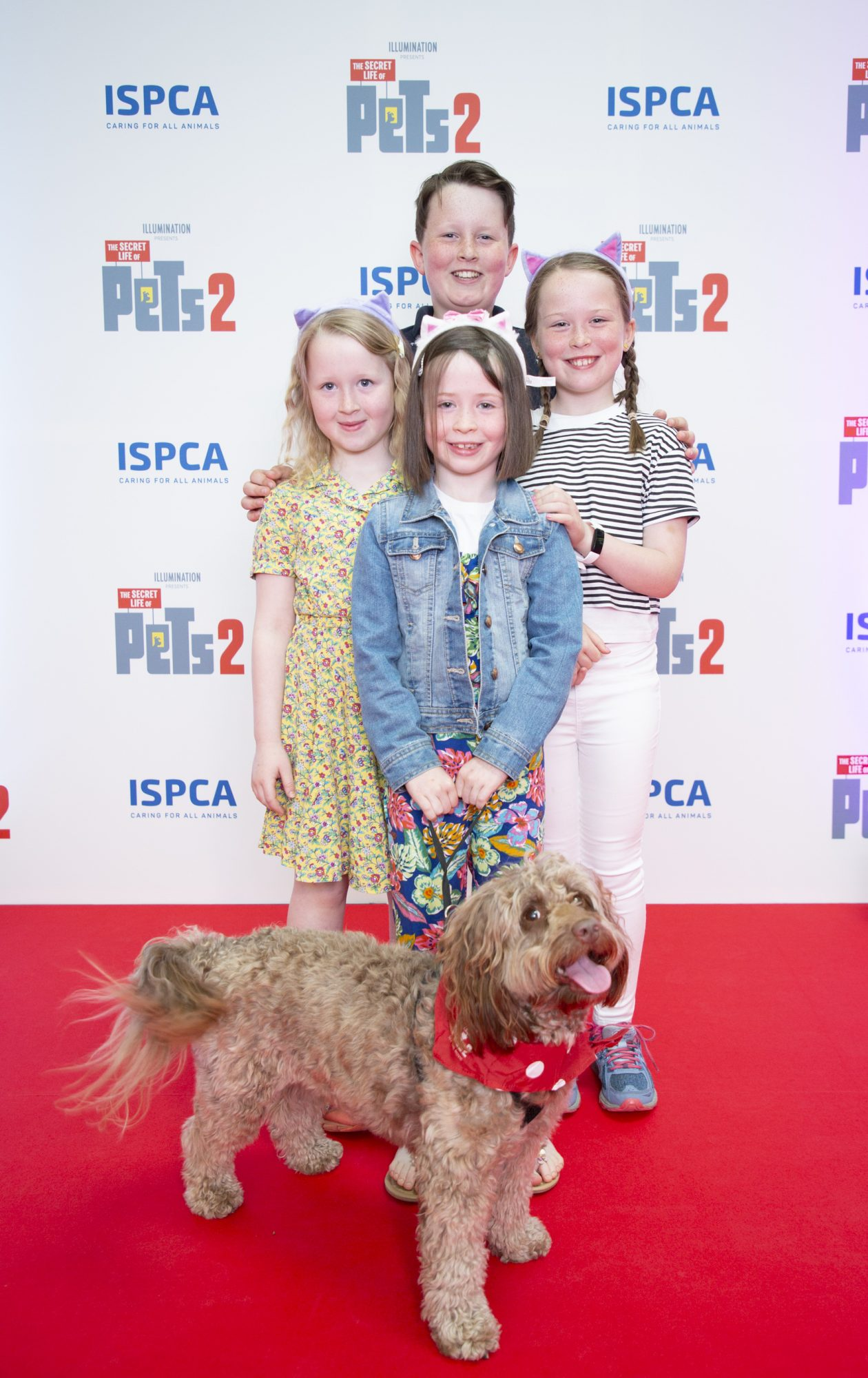 Bronagh 8 Tadhg 10 Raghnaid 9 & Blathnaid Griffin 6 with dog Murphy  pictured at the Irish premiere screening of The Secret Life of Pets 2 at Odeon Point Square, Dublin hosted by Universal Pictures in association with the ISPCA. The Secret Life of Pets 2 is in cinemas from Friday May 24th. Photo: Anthony Woods