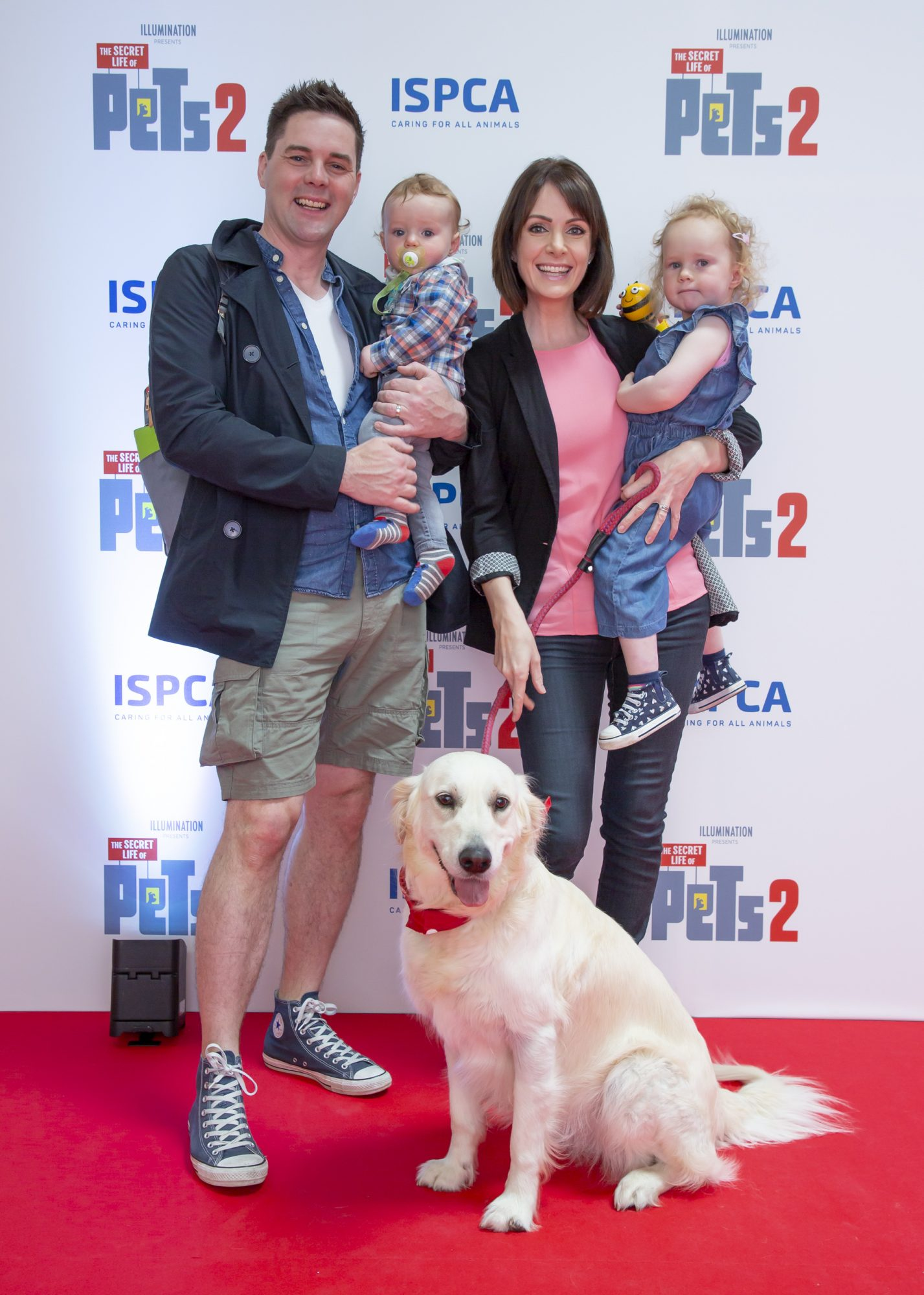 Marty Miller, Dee Woods Nathan 1 Eleanor 2 with dog Frankie pictured at the Irish premiere screening of The Secret Life of Pets 2 at Odeon Point Square, Dublin hosted by Universal Pictures in association with the ISPCA. The Secret Life of Pets 2 is in cinemas from Friday May 24th. Photo: Anthony Woods